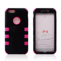 3 In 1 PC Silicone Hybrid Combo Hard Back Cover Case For iPhone 6 - $7.24