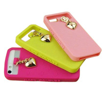 Love Heart Pendant Protective Silicone Case Cover For iPhone 5 5S - $11.25