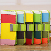 Contrast Three Colors Wallet PU Leather Case For iPhone 5C - $8.83