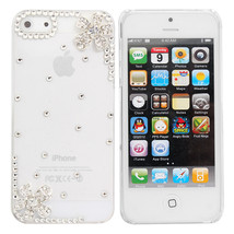 Crystal Diamond Little Flower Decorated Case For iPhone 5 - $9.43