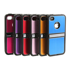 Metal Aluminum TPU Hard Case Cover With Chrome Stand For iPhone 4S 4 - $9.70