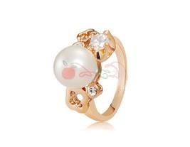 Rigant Stuuning Crystal Rhinestone Decorated Pearl Ring Sz 9 (Golden) - $7.80