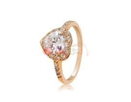Rigant Stunning Heart Design Crystal Rhinestone Decorated Ring (Golden) - $10.31