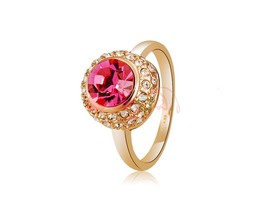 Rigant Stunning Ruby & Crystal Rhinestone Decorated Ring Sz 9 (Golden) - $10.02