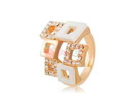 Rigant Gorgeous Crystal Rhinestone Decorated Ring Sz 8 (White + Golden) - $9.72