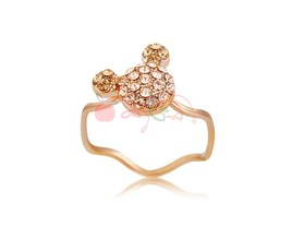 Rigant Crystal Mouse Decoration Stylish Ring Sz 9 M. - $7.21
