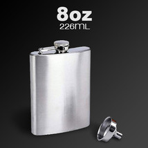 Stainless Steel Pocket Whisky Liquor 8 OZ Hip Flask With Funnel - $10.89