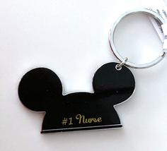 Walt Disney World Mickey Mouse Ears #1 Nurse Metal Keychain NEW - $16.90