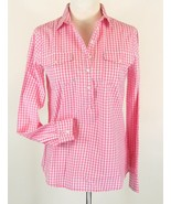 JONES NEW YORK Size S 4 6  Pink Checked Popover Half Placket Shirt Top MINT - $17.99