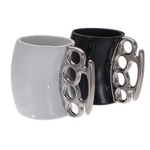 Finger Handle Brass Ring Fist Coffee Milk Cup Gift - £14.15 GBP