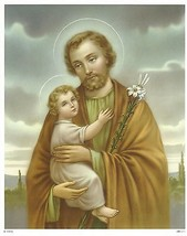 "Catholic Print Picture Saint Joseph with Child Jesus 8x10"" ready to be framed - $14.01"