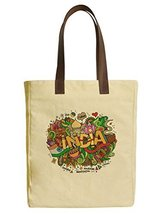 Vietsbay's India Doodles Elements Canvas Tote Bags with Leather Handles - $23.99