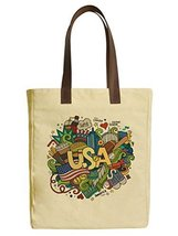 Vietsbay's USA Doodles Elements Canvas Tote Bags with Leather Handles - $23.99