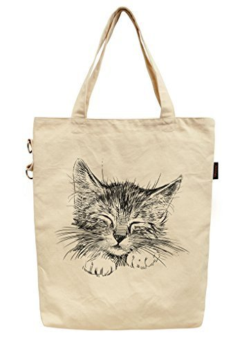Vietsbay's Women Sleeping Cat Printed Fashion Cotton Canvas Tote Bag