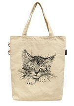 Vietsbay's Women Sleeping Cat Printed Fashion Cotton Canvas Tote Bag - £16.58 GBP