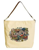 Vietsbay's London Doodles Elements Graphic Canvas Tote Bag with Leather Strap - $22.58