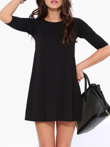 Women Black Half Sleeve Pure Color Loose Dress - $14.05