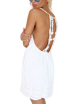 Women Backless Sleeveless Strapless Floral Pure Color Splicing Sexy Summ... - $12.60