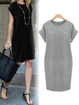 Pure Color Increase Dress Plus Size Round Neck Short Sleeve Dresses - $25.65