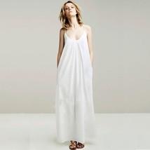 Women Long Cotton Suspenders Dress Long Pure Color Sling Dress - $22.75
