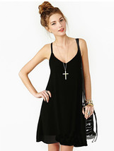 Sexy Hollow Out Strapeless V-Collar Chiffon Pure Color Dress - $19.84