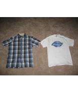 Dickies Button-Down Blue Tan Stripped Mens Short Sleeve Shirt +White Und... - $20.99