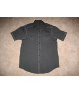 HELIX Button-Down Shirt Black Gray Stripped Mens Short Sleeve Shirt - $19.99
