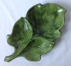 Vintage Ceramic Green Leaf Dish Bowl w 3 Sections for Relish Condiments ... - $14.95