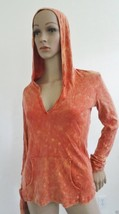 New 180 Degrees Knit Fashion Hooded Top Shirt, Sz M Medium Rusty Red Print - $8.86