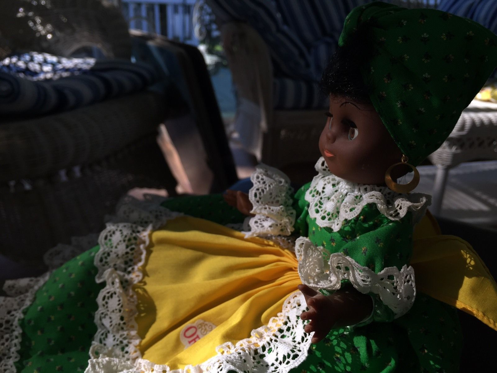 "Original Gambina Doll ""Cleo"" Market Lady with tags attached! New Orleans Apron"