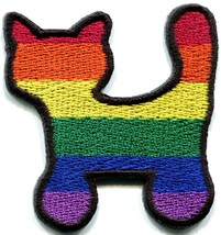 Cat kitten kitty gay lesbian pride rainbow LGBT applique iron-on patch n... - $2.95