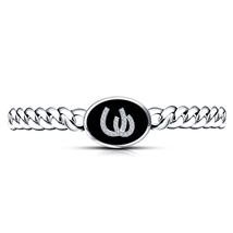 Best Offer Sterling Silver RD White CZ New Fashion Men's Horseshoe Bracelet - £132.06 GBP