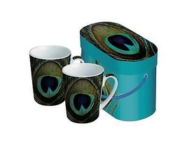 Set of 2 Paradise Peacock Porcelain Coffee Mugs with Gift Box - 14 ounces - $27.22