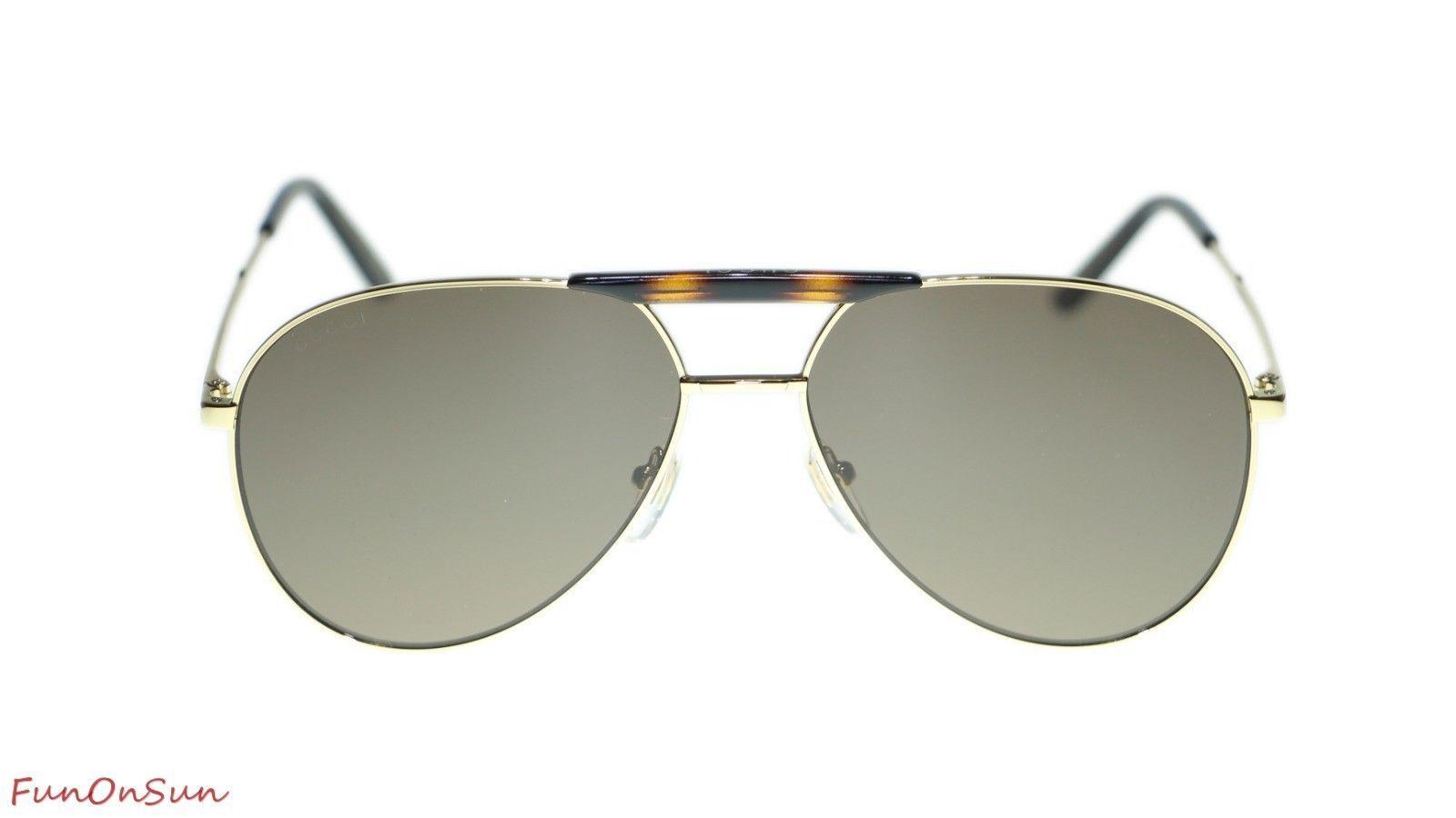 46529f05cf401 Gucci Men Sunglasses GG0242S 002 Gold Brown Lens Aviator 59mm Authentic