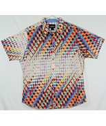 Cremieux Mens XL Short Sleeve Button Up Multicolor Red Blue Geometric Pa... - $32.73