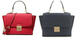NWT Michael Kors Saffiano Medium Brandi Satchel Bag Purse Black/Red - $139.95