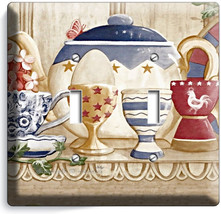 RUSTIC COUNTRY KITCHEN PANTRY DISHES DOUBLE LIGHT SWITCH WALL PLATE COVE... - $10.79