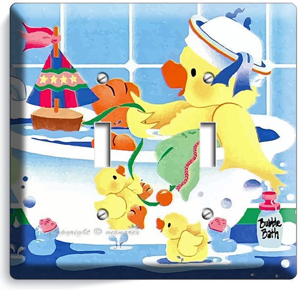 CUTE TOY DUCK BATHING DOUBLE LIGHT SWITCH WALL PLATE COVER LAUNDRY ROOM BATHROOM