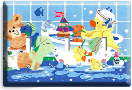 CUTE TOY DUCK BATHING TRIPLE LIGHT SWITCH WALL PLATE COVER LAUNDRY ROOM ... - $14.39