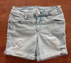 Justice Girls Denim Shorts Size 8 Regular Blue  Low Cuffed Light Wash Distressed - $14.99