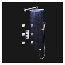 LED Wall Mount Thermostatic Shower Faucet with BodySprays (Chrome Finish) - $663.25