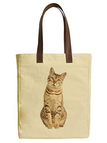 Vietsbay's Bengal Cat Graphic Design Canvas Tote Bags with Leather Handles