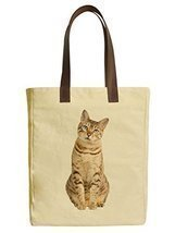 Vietsbay's Bengal Cat Graphic Design Canvas Tote Bags with Leather Handles - £18.95 GBP
