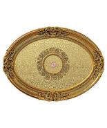 French Country Decorative Architectural  Oval Golden Rocaille Ceiling Me... - $494.01