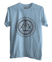 The Deathly Hallows Art Men Tee Color Light Blue Size S To 3 Xl - $18.00
