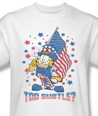 Garfield American Flag T shirt retro classic cartoon white cotton tee Gar484