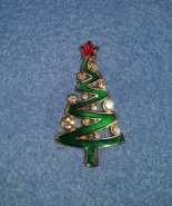 Enamel Christmas Tree Brooch with Crystals by Lia, goldtone - $19.99