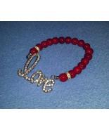 Dark Red, Silver, and Rhinestone Love Stretch B... - $11.99