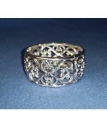 Bright Silver Filigree Stretch Cuff Bracelet  - $13.99
