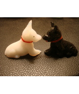 VINTAGE OLD MILK GLASS BLACK & WHITE SCOTTY DOGS SMALL CARNIVAL PRIZE - $11.99